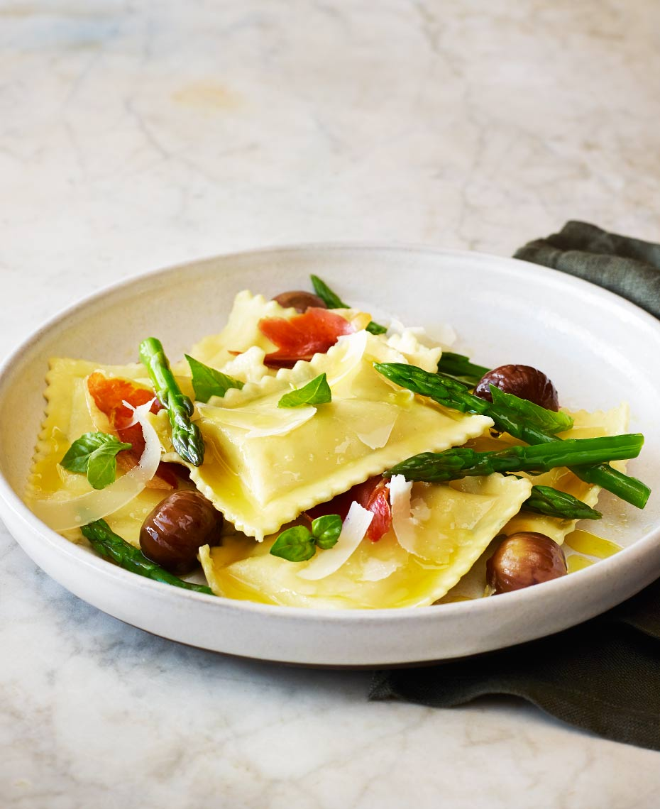 Ravioli With Chestnuts & Asparagus